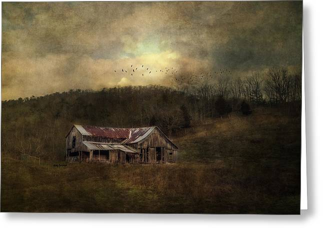 Barn Landscape Photographs Greeting Cards - Barn In Golden Light Greeting Card by Kathy Jennings