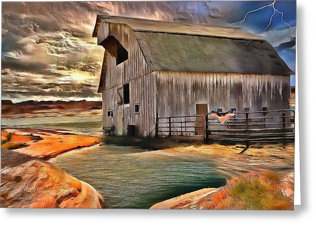 Barn In Golden Light  Greeting Card by L Wright