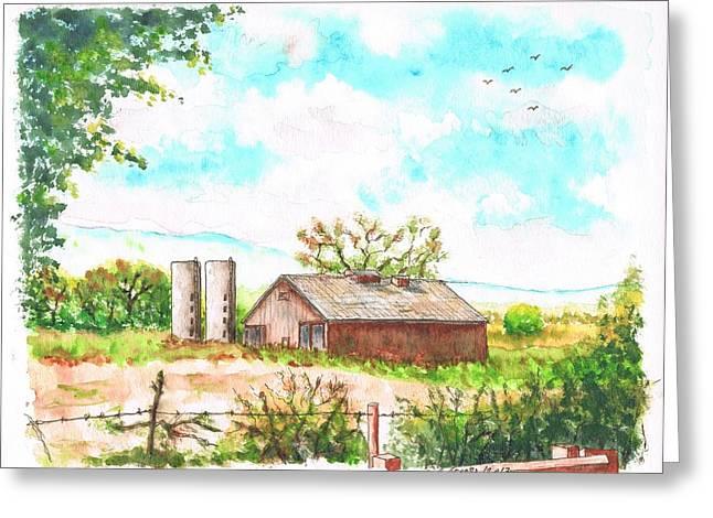 Barn Door Paintings Greeting Cards - Barn in Highway 6 - Bishop - California Greeting Card by Carlos G Groppa