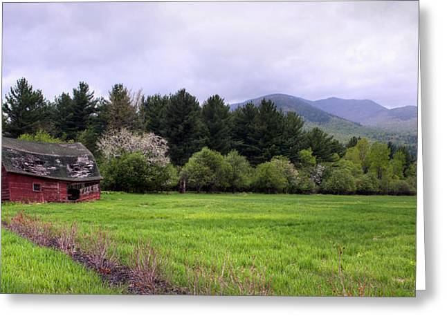 """adirondack Park"" Greeting Cards - Barn In Keene Valley In Spring Greeting Card by Panoramic Images"