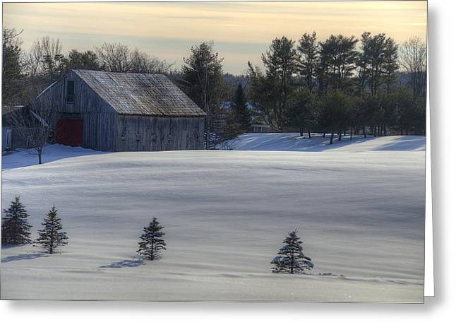 Barn in Snow in Color Greeting Card by Donna Doherty