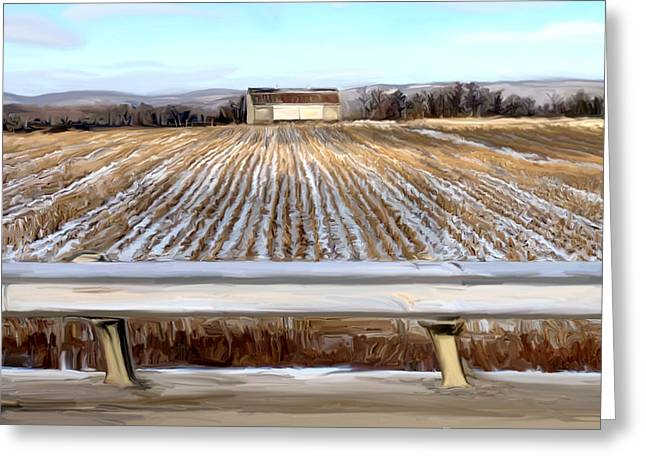 Cornfield Mixed Media Greeting Cards - Barn in Snow Greeting Card by Mary Vollero