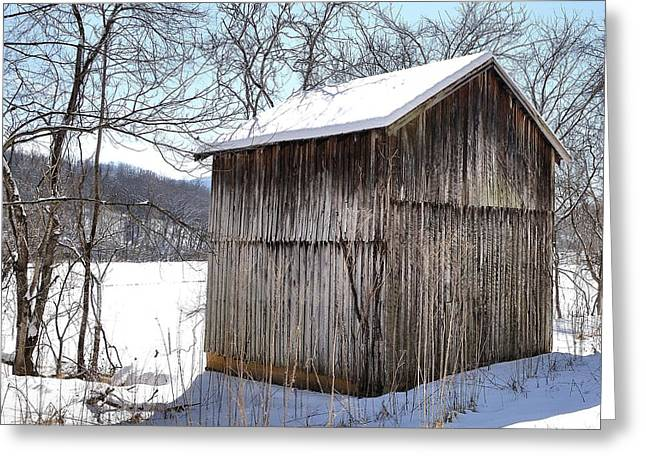 Snow-covered Landscape Greeting Cards - Barn In Snow Greeting Card by Todd Hostetter