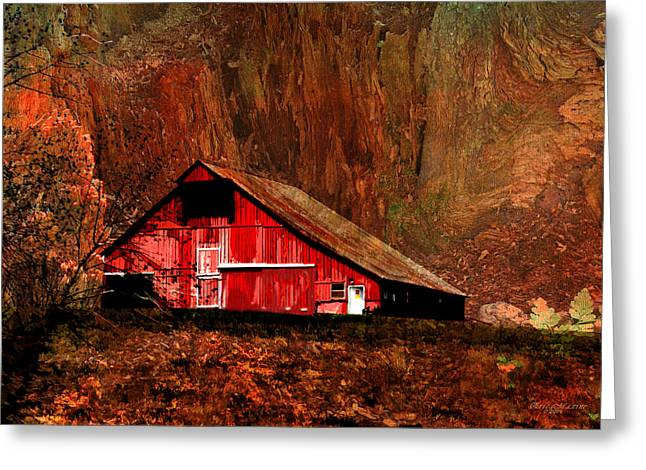 Tennessee Barn Digital Art Greeting Cards - BARN IN THE CANYONfeatured in Visions of the Night-Barns Big and Small-Photography andTexture Groups Greeting Card by EricaMaxine  Price