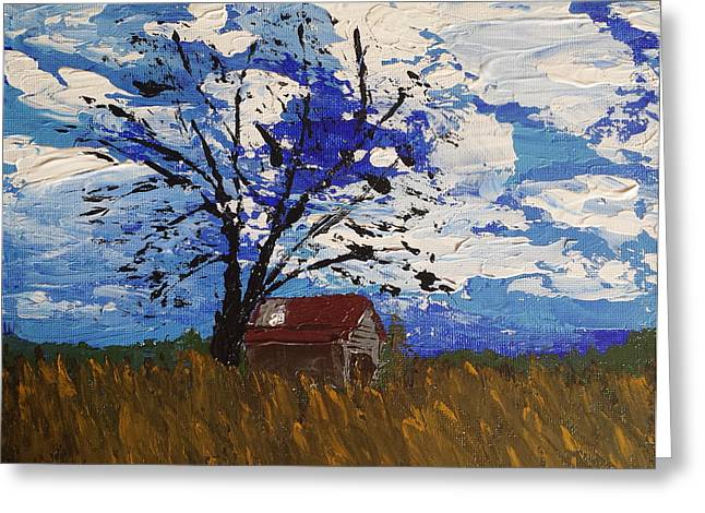 Recently Sold -  - Red Roofed Barn Greeting Cards - Barn in the Field Greeting Card by J Travis Duncan