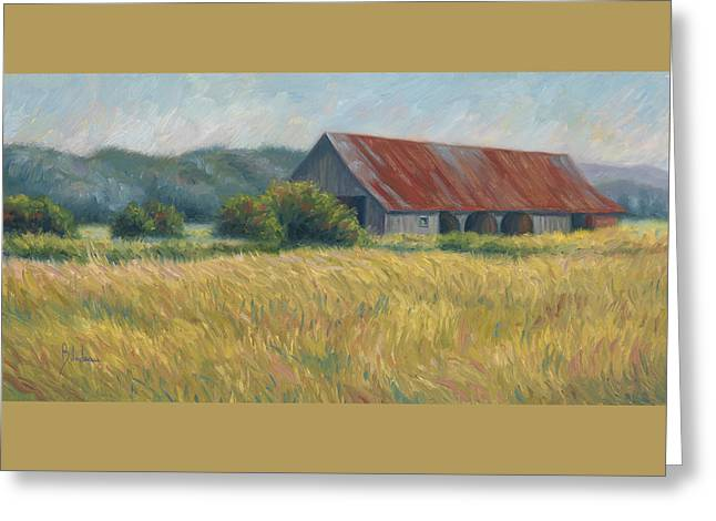 Outdoors Paintings Greeting Cards - Barn In The Field Greeting Card by Lucie Bilodeau