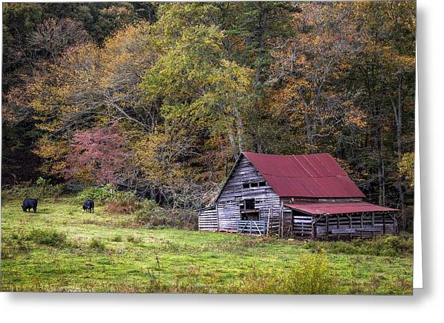 Red Roofed Barn Greeting Cards - Barn in the Smokies Greeting Card by Debra and Dave Vanderlaan