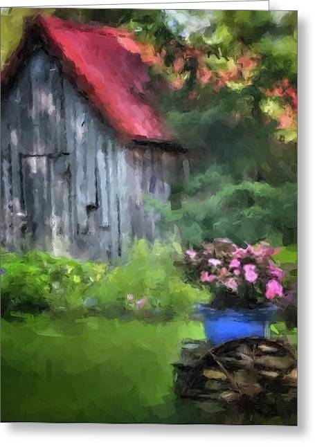 Red Roofed Barn Greeting Cards - Barn in Trees Greeting Card by Dennis Wickerink