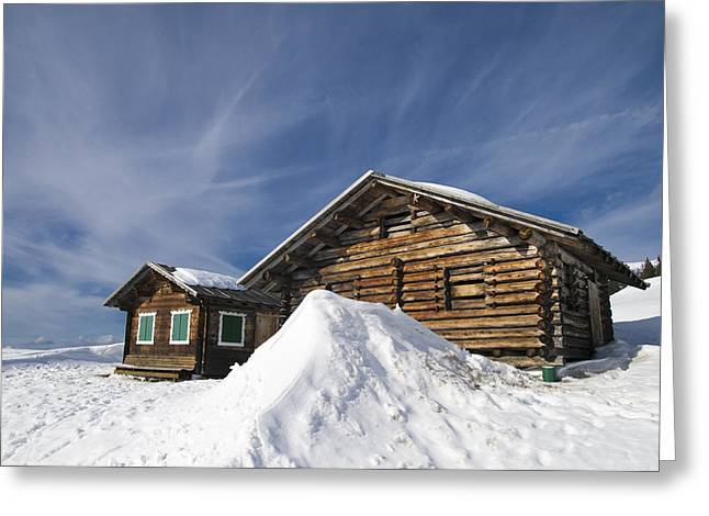 Winterly Greeting Cards - Barn in winter Greeting Card by Matthias Hauser