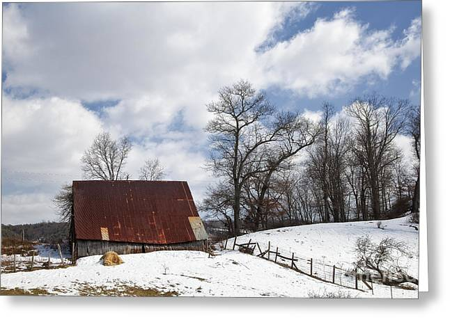Wintery Barn Greeting Cards - Barn in Winter Snow Greeting Card by Jill Lang