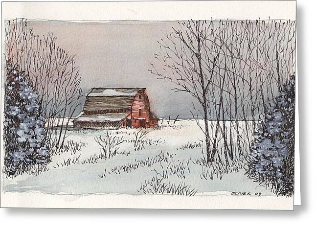 Barn Pen And Ink Greeting Cards - Barn in winter Greeting Card by Tim Oliver