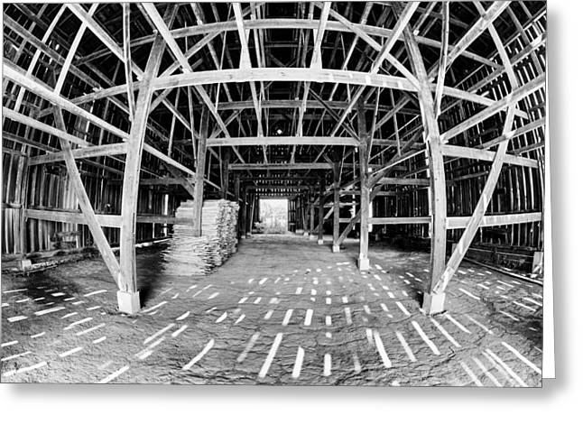 Rafters Greeting Cards - Barn Inside Greeting Card by Alexey Stiop