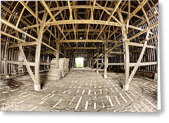 Empty Building Greeting Cards - Barn Interior Greeting Card by Alexey Stiop