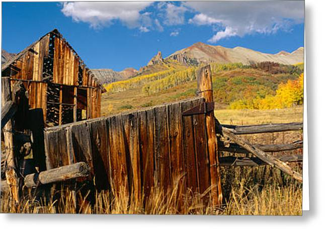 Old Barns Greeting Cards - Barn, Last Dollar Road, Telluride Greeting Card by Panoramic Images