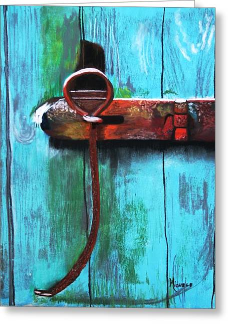 Iron Pastels Greeting Cards - Barn Latch Greeting Card by Michele Turney