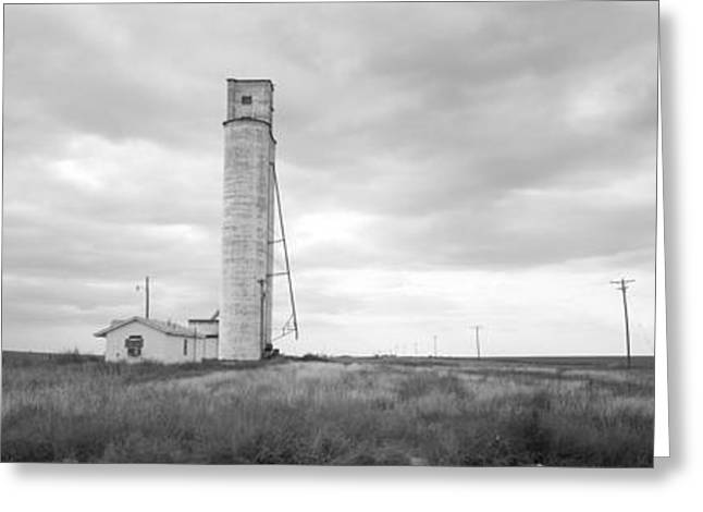 Overcast Day Greeting Cards - Barn Near A Silo In A Field, Texas Greeting Card by Panoramic Images