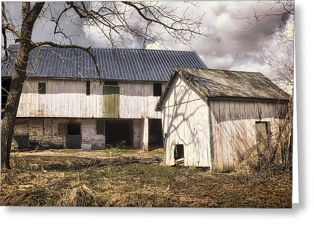Barn Near Utica Mills Covered Bridge Greeting Card by Joan Carroll