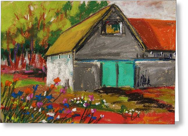 Old Barn Pastels Greeting Cards - Barn Off From the Garden Greeting Card by John  Williams