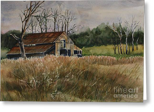 Old Barns Greeting Cards - Barn Off the Road Greeting Card by Janet Felts
