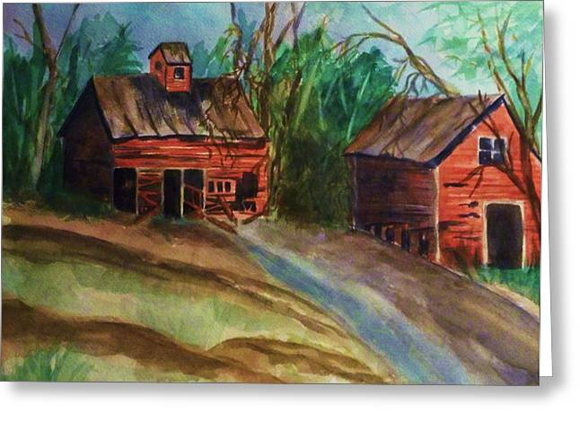 Warp Paintings Greeting Cards - Barn - Old Dilapidated Red Barn Greeting Card by Ellen Levinson