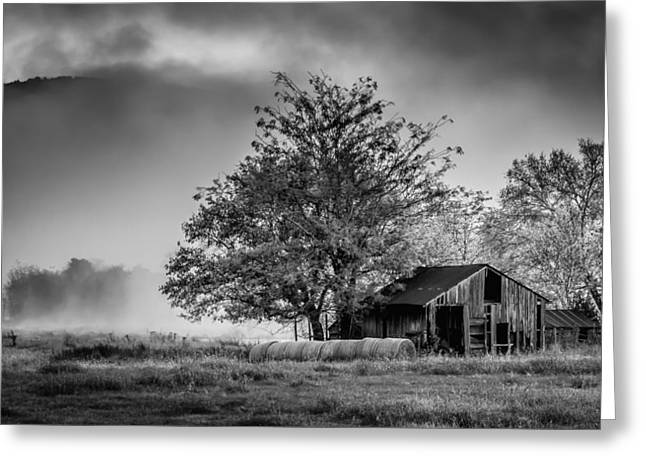 James Barber Greeting Cards - Barn on Foggy Morning in Monochrome Greeting Card by James Barber