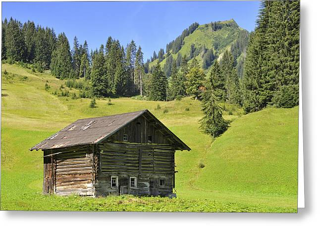 Singly Greeting Cards - Barn on green meadow in the alps Greeting Card by Matthias Hauser