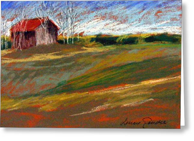 Red Roofed Barn Pastels Greeting Cards - Barn on Patten Hill Greeting Card by Lenore Gaudet