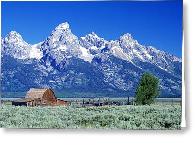 Wy Greeting Cards - Barn On Plain Before Mountains, Grand Greeting Card by Panoramic Images