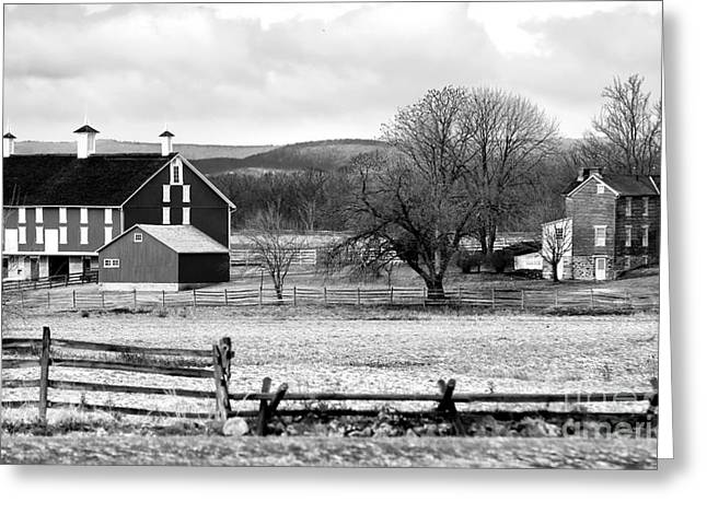 Pa Barns Greeting Cards - Barn on the Battlefield Greeting Card by John Rizzuto