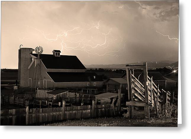 Lohr-mcintosh Farm Greeting Cards - Barn On The Farm and Lightning Thunderstorm Sepia Greeting Card by James BO  Insogna