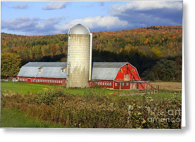 Hay Bales Greeting Cards - Barn On The River Rd. Greeting Card by Deborah Benoit