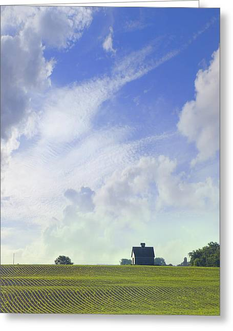 Interesting Digital Greeting Cards - Barn on Top of the Hill Greeting Card by Mike McGlothlen