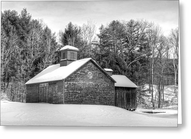 New England Snow Scene Greeting Cards - Barn on Tyringham Road - Black and White - Square Greeting Card by Geoffrey Coelho