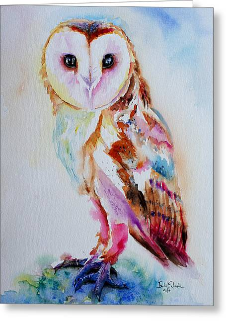 Nocturnal Animal Print Greeting Cards - Barn Owl Greeting Card by Isabel Salvador