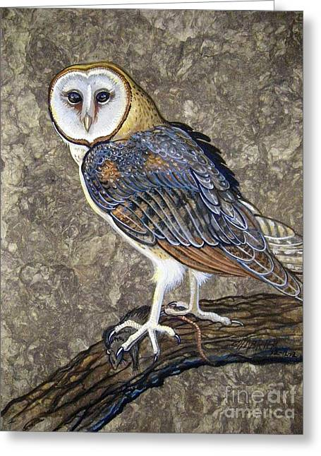 Amate Bark Paper Greeting Cards - Barn Owl Midnight Snack Greeting Card by Anne Shoemaker-Magdaleno
