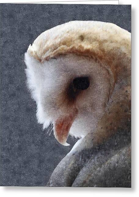Barn Digital Art Greeting Cards - Barn Owl Painterly Greeting Card by Ernie Echols