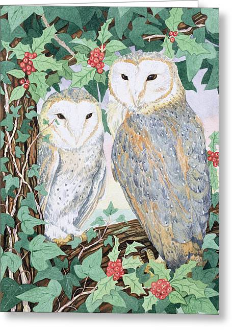 Woodland Scenes Paintings Greeting Cards - Barn Owls Greeting Card by Suzanne Bailey
