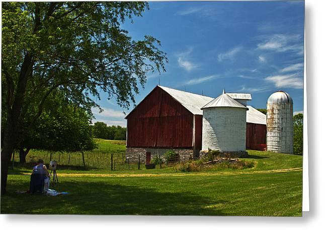 Barnstormer Greeting Cards - Barn Painter Greeting Card by Guy Shultz