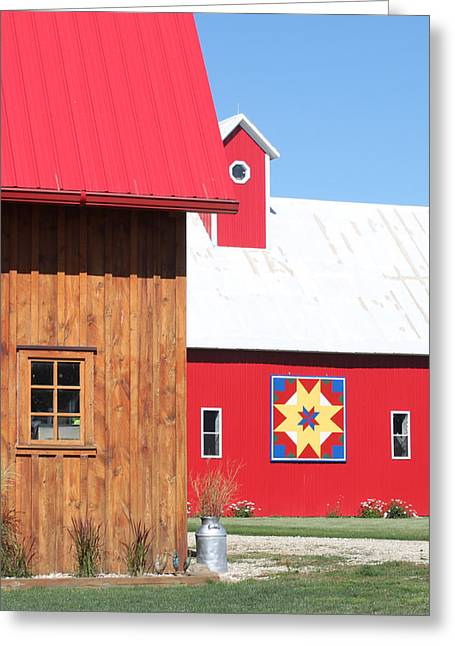 Heritage Quilts Greeting Cards - Barn Quilt Nine 2013 Greeting Card by Karen Ament
