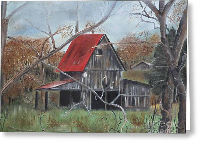Old Barns Greeting Cards - Barn - Red Roof - Autumn Greeting Card by Jan Dappen