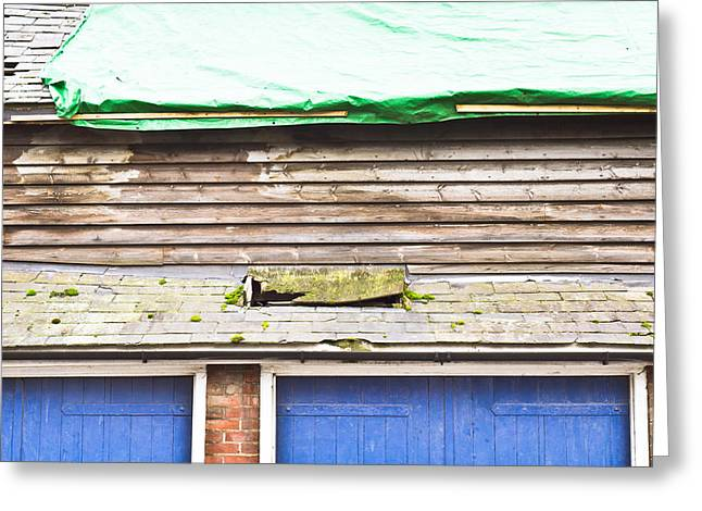 Shack Greeting Cards - Barn repairs Greeting Card by Tom Gowanlock