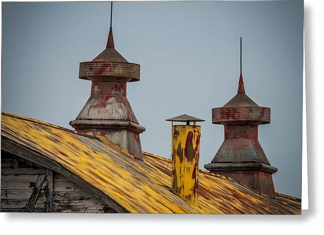 Tin Roof Greeting Cards - Barn Roof in Color Greeting Card by Paul Freidlund