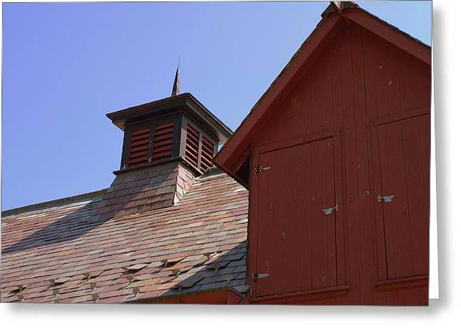 Red Roofed Barn Greeting Cards - Barn Roof Greeting Card by Judy Salcedo