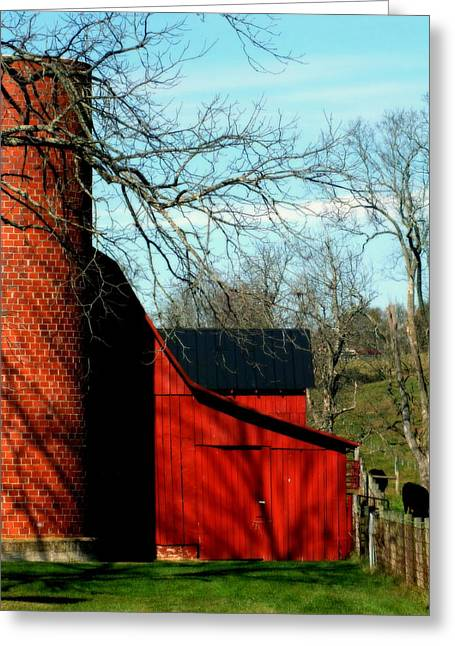 Barn Yard Photographs Greeting Cards - Barn Shadows Greeting Card by Karen Wiles
