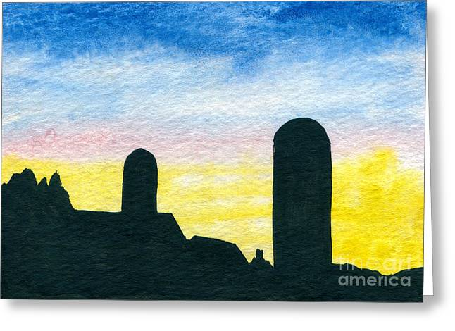 Indiana Scenes Paintings Greeting Cards - Barn Silhouette 1 Greeting Card by R Kyllo