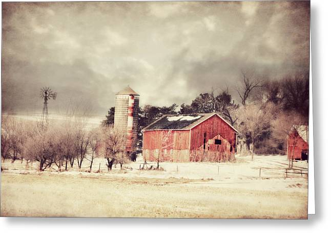 Cupola Greeting Cards - Barn Silo and Windmill Greeting Card by Julie Hamilton