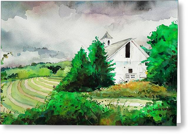 Scott Nelson And Son Paintings Greeting Cards - Barn Storm Greeting Card by Scott Nelson