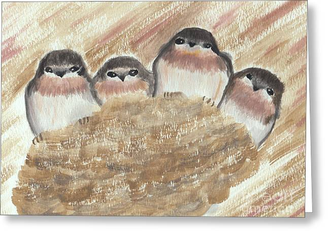 Swallow Nestlings Greeting Cards - Barn Swallow Chicks Greeting Card by Conni Schaftenaar Elderberry Blossom Art
