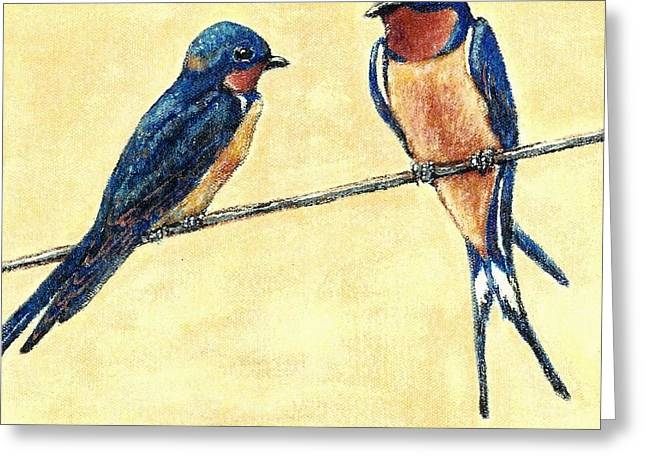 Overhang Greeting Cards - Barn-Swallow Pair Greeting Card by VLee Watson