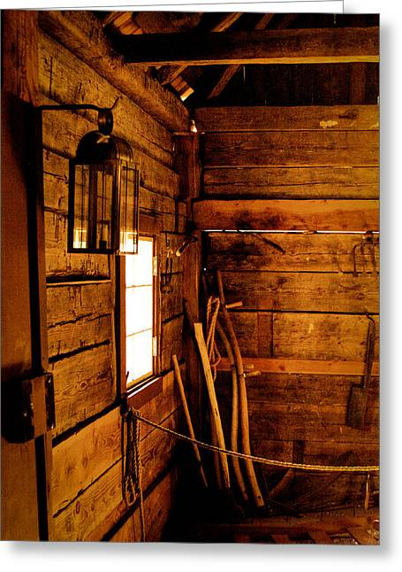 Historical Buildings Greeting Cards - Barn Tools Greeting Card by David Patterson